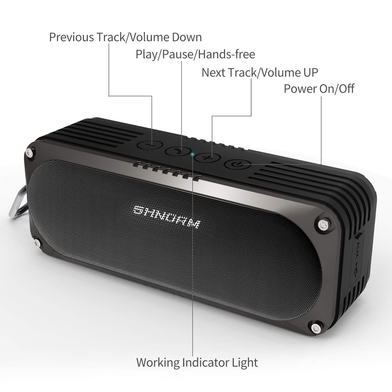 Altavoz Bluetooth portátil, SHNORM IPX4 Altavoz estéreo Bluetooth 4.0 a Prueba de Agua con 6W de Doble Controlador y micrófono Incorporado para Llamadas, Altavoz súper Ruidoso