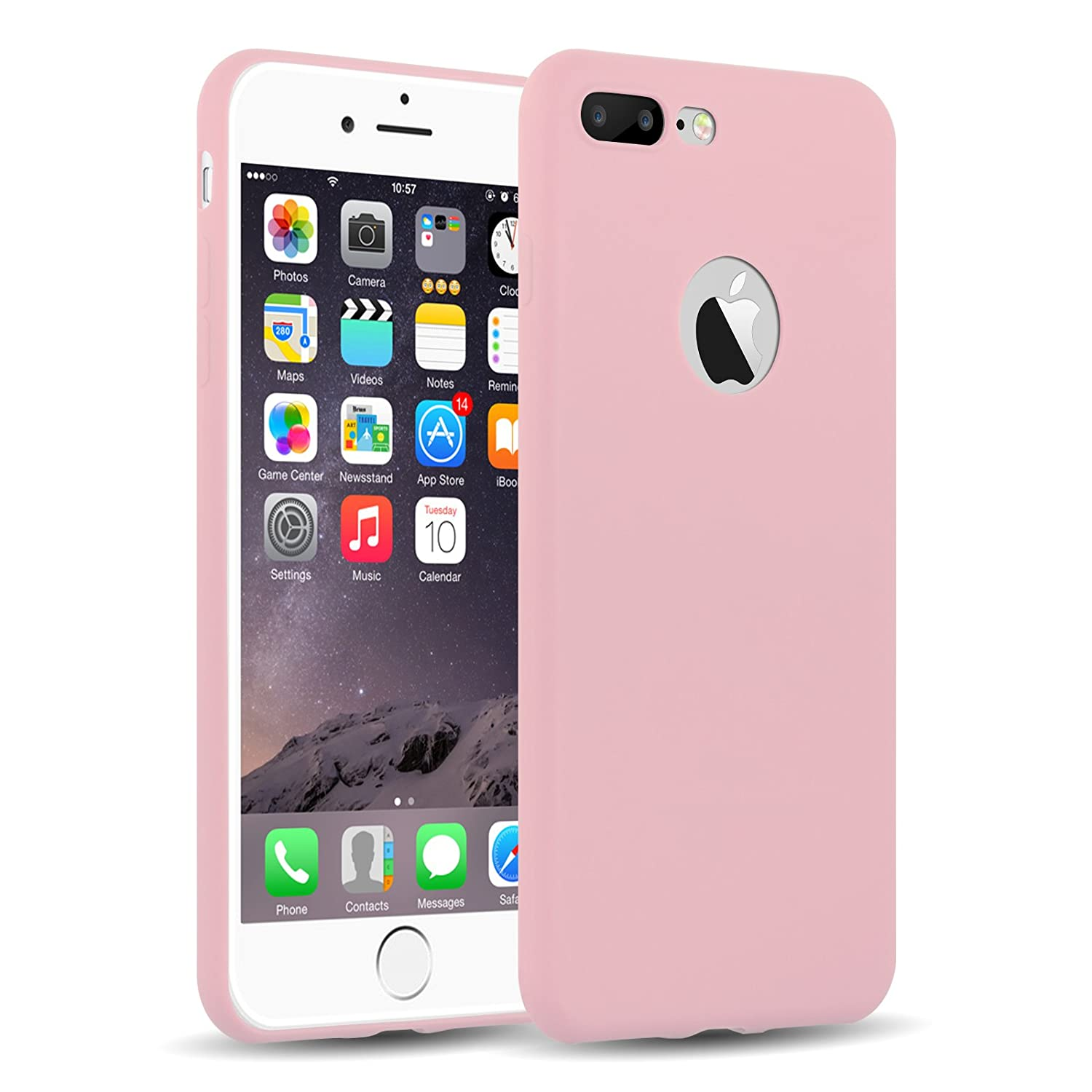 Funda iPhone 8 Plus, iPhone 7 Plus Case, JAMMYLIZARD Carcasa TPU Ultra Fina [ Jelly Case ] De Goma Silicona Back Cover, Rosa Melocotón