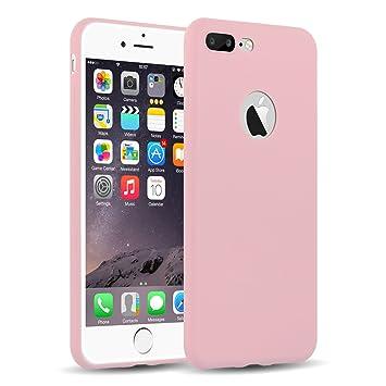 Funda iPhone 8 Plus, iPhone 7 Plus Case, JAMMYLIZARD Carcasa TPU Ultra Fina [ Jelly Case ] De Goma Silicona Back Cover, Rosa Melocotón