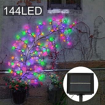 Luces solares para jardín, 144 luces LED para árbol de vid, para decoración de paredes, fiestas, patio, 7.5 pies: Amazon.es: Iluminación