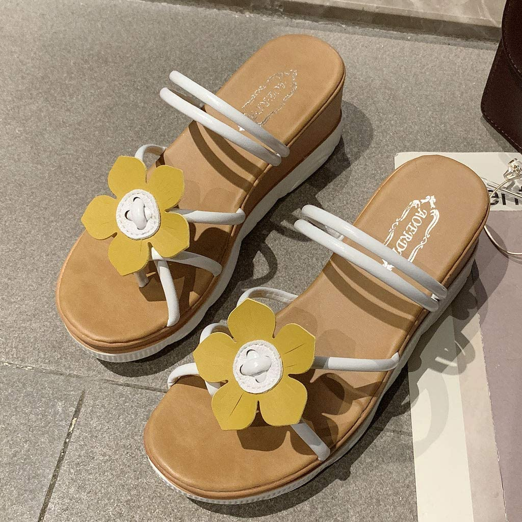 Vintress Womens Fashion Wild Sandals Beach Sandals Solid Color Slippers Wedge Sandals
