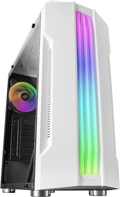 Mars Gaming MCK, Caja PC ATX, Triple Franja LED, Ventilador Trasero 12cm, Blanco: Amazon.es: Informática