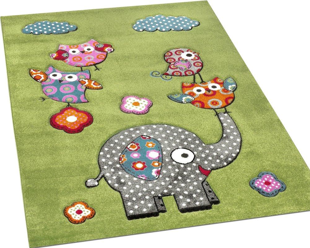 Paco Home Kinderzimmer Teppich Niedliche Bunte Tierwelt Eule in Elefant in Eule Grün Blau Grau Rot, Grösse 120x170 cm 9dcc21