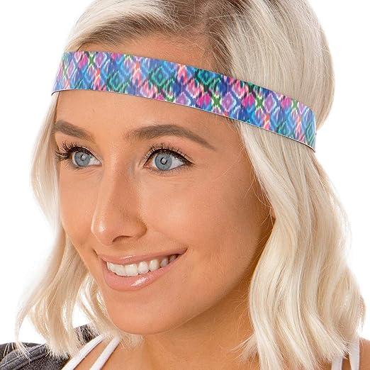 Hipsy Adjustable No Slip Boho Headbands for Women Tribal Diamonds Packs  (Wide Blue) e49dc60d813