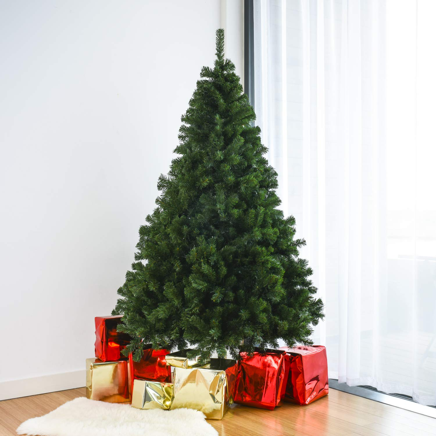 Artificial Xmas Tree With Metal Stand /& Lights 6ft Half Tree Home Treats Pre Lit Christmas Tree 572 Tips Realistic Pine Branches 1.8m