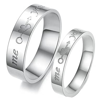 8d215d5ba8 Amazon.com: Daesar 2 x Wedding Rings for Men and Women Rings Engraved Me  Heart You Silver Rings Men Size 10 & 10: Jewelry