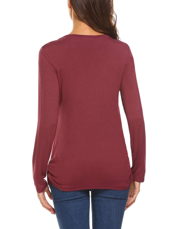 UNibelle Damen Stillshirt Umstandsmode Schwanger T-Shirt Maternity Shirt Umstandsshirt Stilltop Umstandstop Langarmshirt