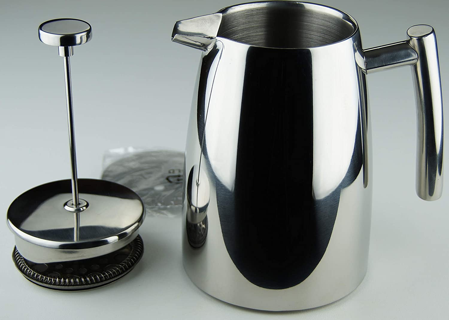 Elegant Stainless Steel Cafetière Insulated Double Wall French Coffee Press with Spare Screen 8 cup 1 Litre (34oz) the teapot company CP5002-8HW