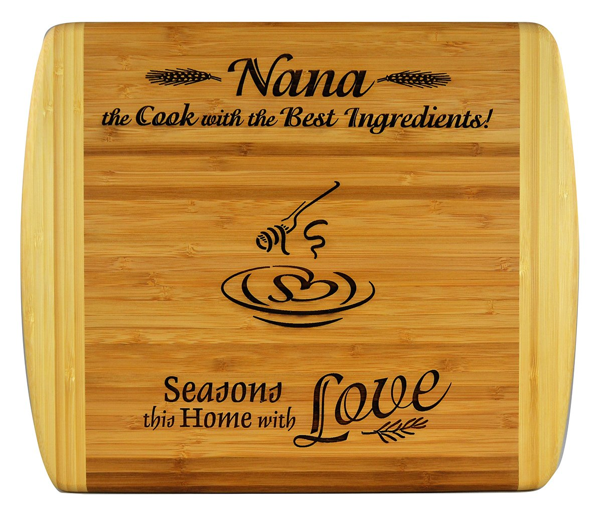 NANA GIFT ~ Engraved 2-Tone Bamboo Cutting Board ~ 2-Sided Design Engraved Side Designed For Décor Reverse Side For Usage Nana Birthday Gift Mothers Day Christmas Gift Best Nana Ever (11 1/2 x 13 1/2)