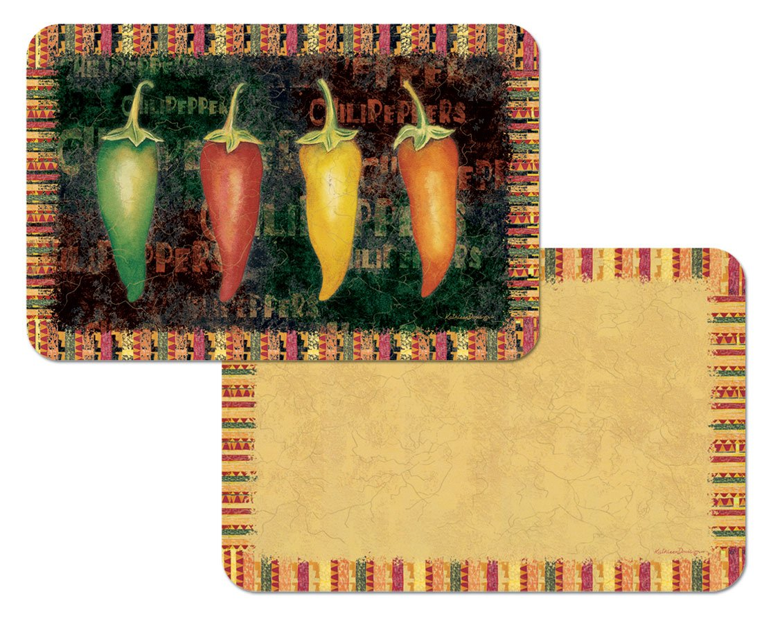 Amazon: Hot Chili Peppers Reversible Washable Vinyl Placemats Set Of  Four: Home & Kitchen