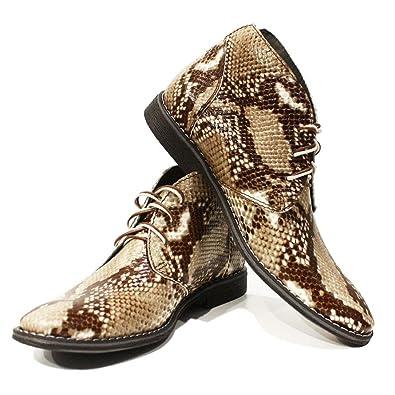 47450f46255245 PeppeShoes Modello Abdone - 46 - Handgemachtes Italienisch Leder Herren  Grau Stiefeletten Chukka Stiefel - Rindsleder