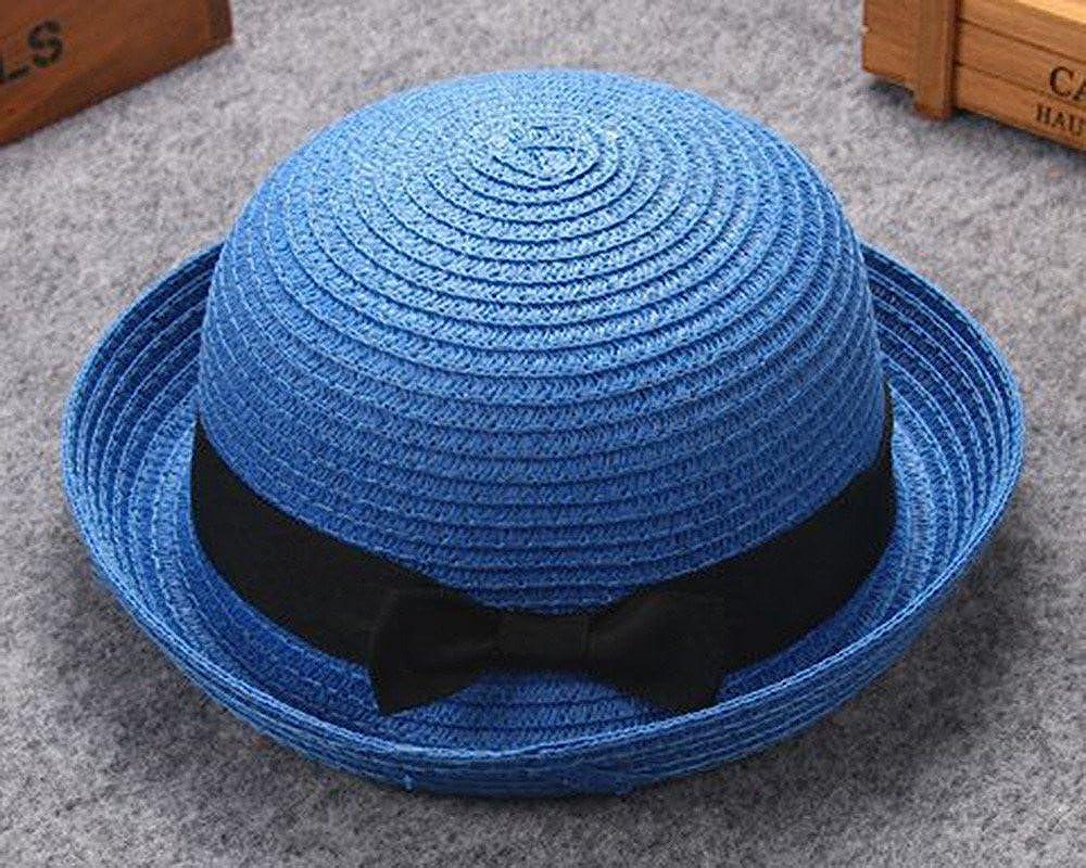 DIOMOR Kids Children Classic Cute Bow Tie UPF 50 Sun Hat UV Sun Protection Fedora Bucket Hat Light Weight Bucket Hat