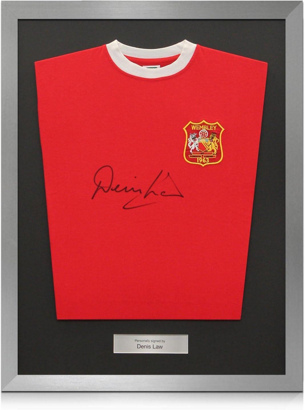 Ley Plata Denis Firmado Enmarcado Manchester United 1963 de fútbol camiseta FA Cup Winners: Amazon.es: Deportes y aire libre