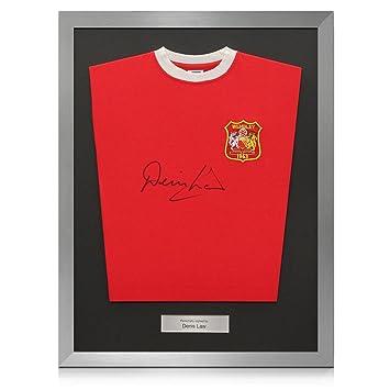 Ley Plata Denis Firmado Enmarcado Manchester United 1963 de fútbol camiseta FA Cup Winners