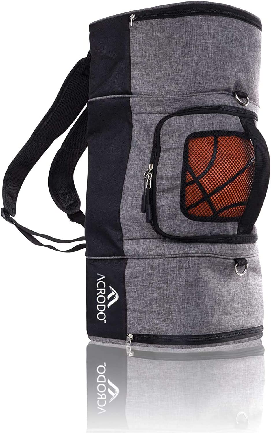 Basketball Backpack with Ball Holder, Shoe Compartment, Lunch Cooler - Sports Duffel Bag Gym Tote for Girls, Boys, Men, Women by Acrodo