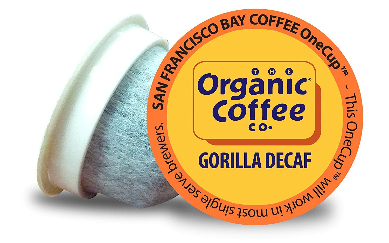 The Organic Coffee Co. OneCup Gorilla DECAF, Single Serve Coffee K-Cup Pods (80 Count) Keurig Compatible, Swiss Water Process- Decafeinated, USDA Organic