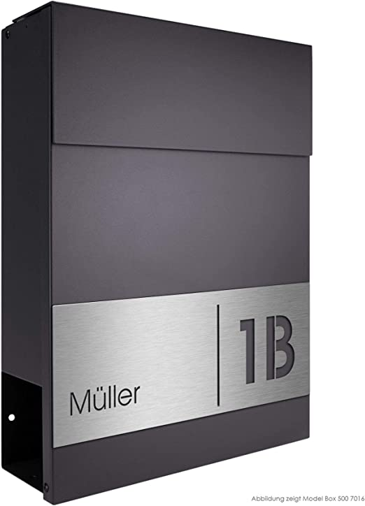 Design-Briefkasten Wandbriefkasten mit Zeitungsfach RAL 7016 MOCAVI Box 500