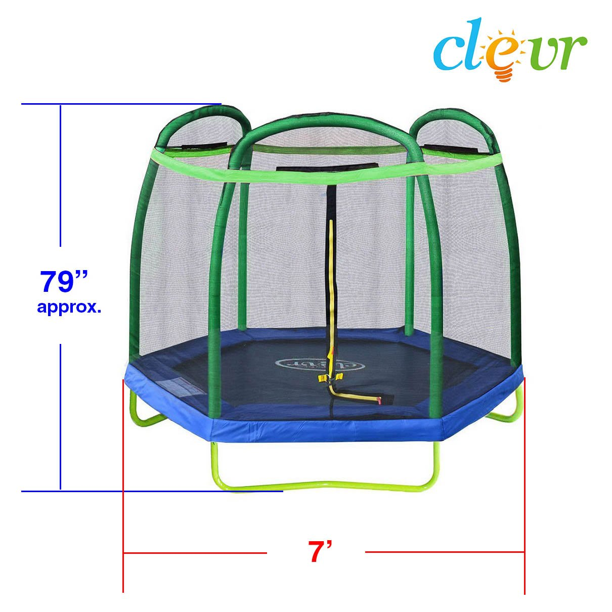 Clevr 7ft Kids Trampoline with Safety Enclosure Net & Spring Pad, 7-Foot Outdoor Round Bounce Jumper 84'' Indoor/Outdoor, Built-in Zipper Heavy Duty Frame, Green and Blue | Great Birthday Gift by Clevr (Image #3)