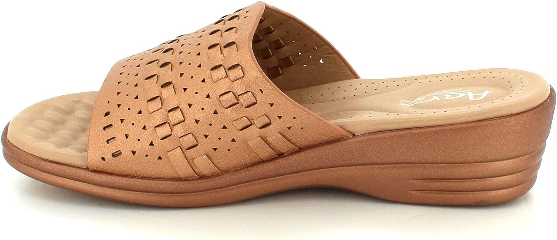 Women Ladies Slide-on Lightweight Casual Summer Open Toe Comfort Medium Wedge Heel Flat Sandals Shoes Size Champagne
