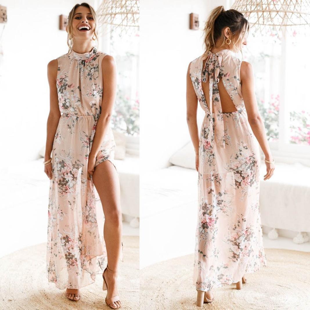 ❤ Kleid Damen Sommer Lange Drucken Mumuj Frauen Chiffon Lässige ...