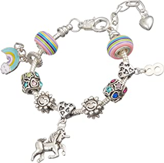 Jewellery Hut - Braccialetto con Ciondolo a Forma di Unicorno, in Confezione Regalo, per Bambine da 1 a 13 Anni