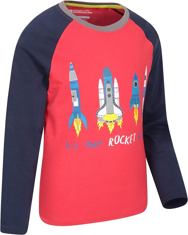 Mountain Warehouse Camiseta Rocket Science para niños - Fibras Naturales, Ligera, Transpirable y de fácil Cuidado - para Senderismo y Viajes al Aire Libre Rojo 7-8 Años: Amazon.es: Ropa y accesorios