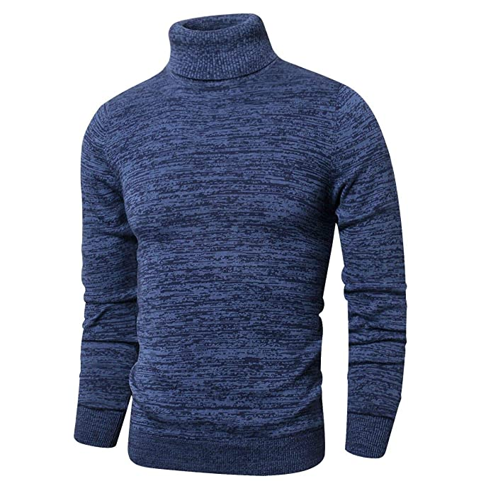 LTIFONE Mens Slim Kintted Long Sleeve Turtleneck Pinstriped Pullover Sweaters(Blue,L) best men's turtlenecks