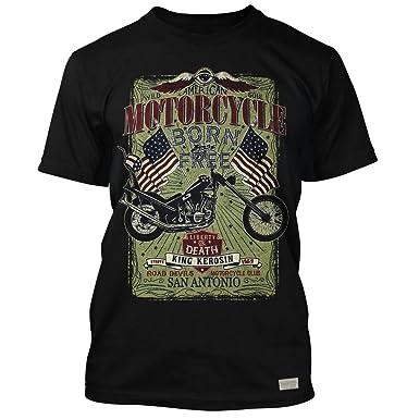 King Kerosin Herren Vintage Biker T Shirt Chopper Born To Be Free