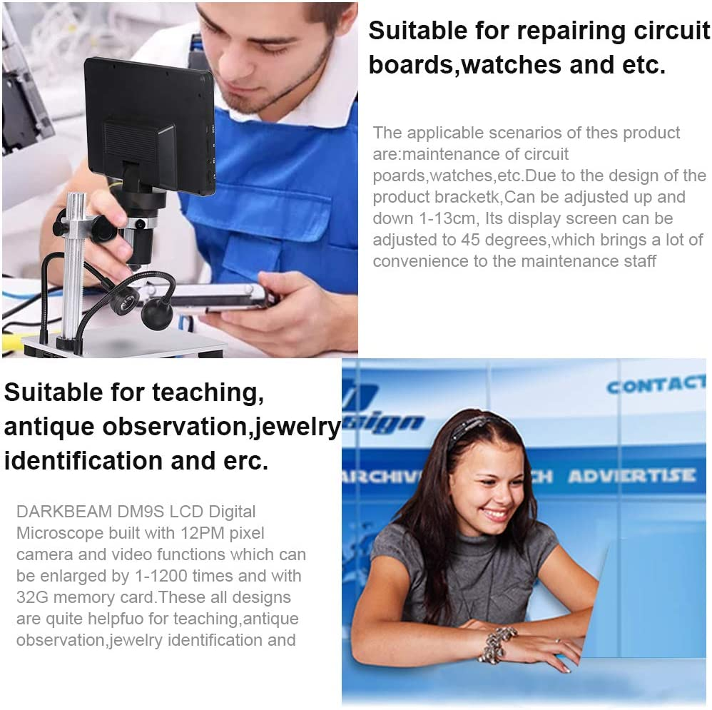 LCD 7 Inch Digital Microscope 1-1200X Maginfication with 32G TF Card,DARKBEAM DM9S Camera Video Recorder with HD Screen Suitable for Teaching,Circuit Boards,observing Antiques,Jewelry Identification