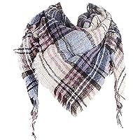 Wander Agio Womens Warm Scarf Triangle Shawls Scarves Stripe Plaid Fichu Rough Surface