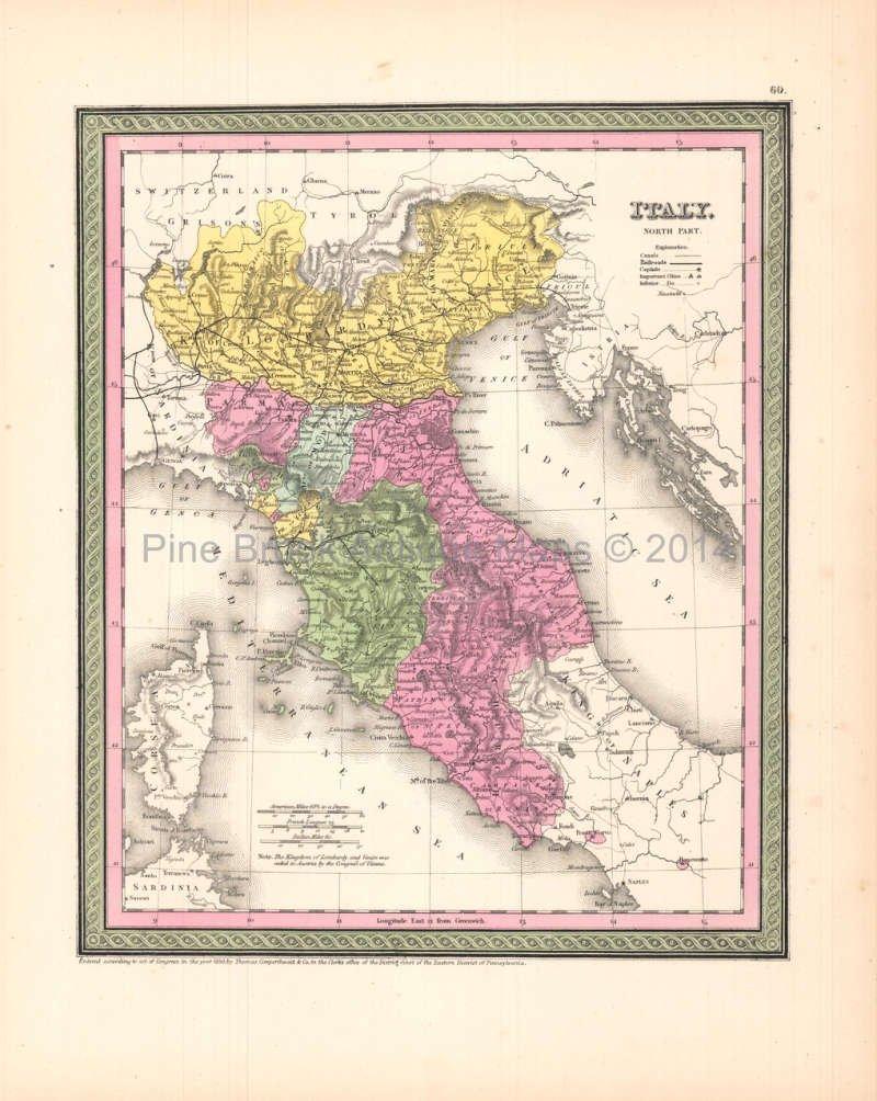 North Of Italy Map.Italy North Antique Map Desilver 1854 Original Italian Decor History
