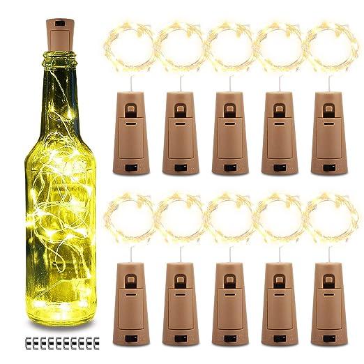 Botellas de vino Cadena 20LED 200CM Artificial Cork Copper Wire Starry Fairy Operado con pilas Luces Dormitorio, Fiestas, Boda, Decoración (10 ...