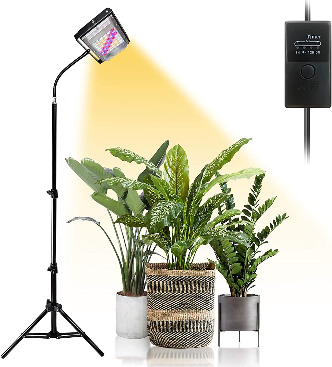 Grow Light with Stand, Fujiki 150W LED Floor Growing Lights for Indoor Plants, Full Spectrum Plant Lamp with 3/9/12H Timer, Auto ON/Off, Adjustable Stand 15-47 inches & Gooseneck
