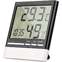 ZWOOS Higrómetro Termómetro Digital Interior, Pantalla LCD Clara, Monitor de Humedad Preciso con Reloj Despertador…