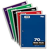TOPS 1-Subject Spiral Notebook, Wide Rule, 8 x 10.5 Inch, Bright White Paper, 70 Sheets per Book, Cover Color May Vary, One Notebook