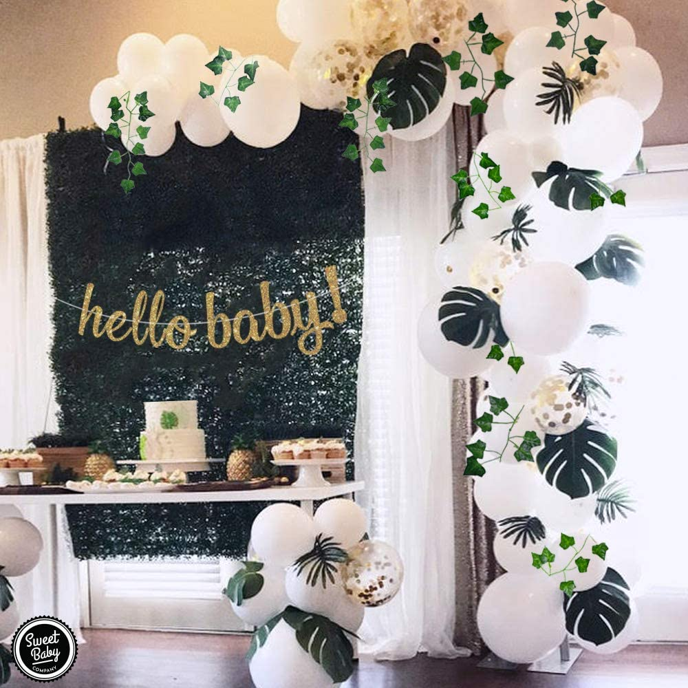 bridal shower ideas spring clover fern faux glittery Printable Banner baby shower bridal party decor Medium Green Glitter Bunting