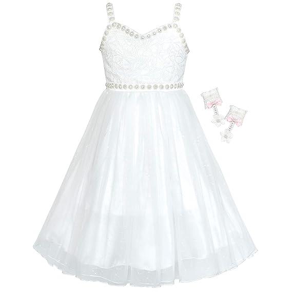 Sunny Fashion Vestido Para Niña Flor Blanquecino Diamante De Imitación Guantes Boda Fiesta 6 12 Años
