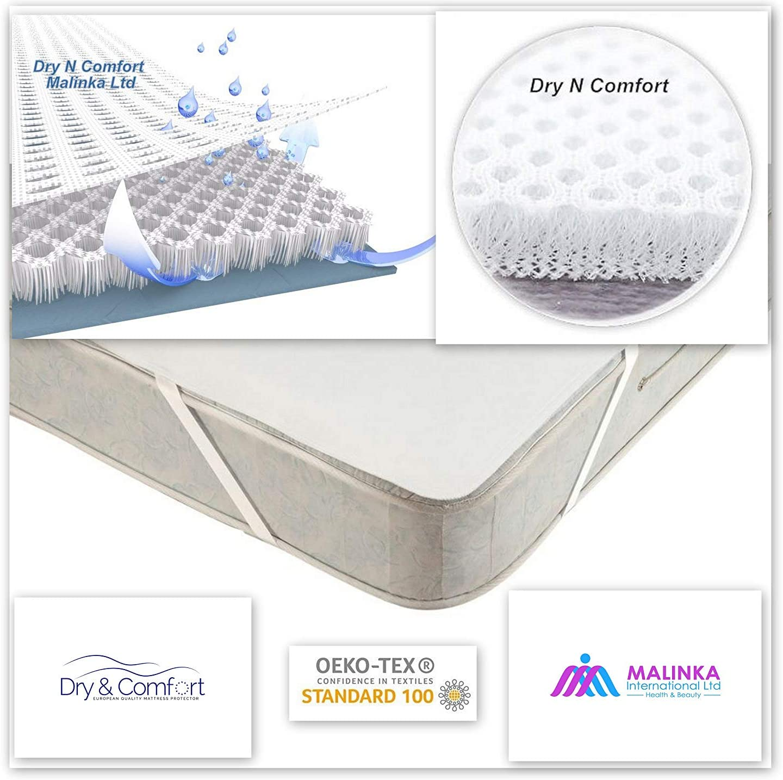 Protector de colch/ón impermeable para ni/ños Dry N Comfort Calidad Premium impermeable protecci/ón contra la humedad 3D Airsafe 60 x 120