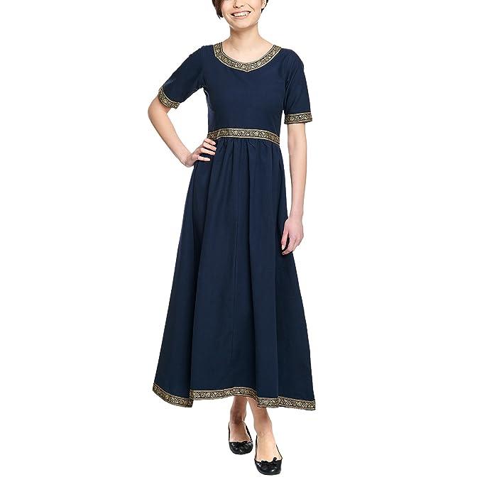 Elbenwald Damas Medievales Vestido con Mangas Cortas y cordón de algodón Azul - XS