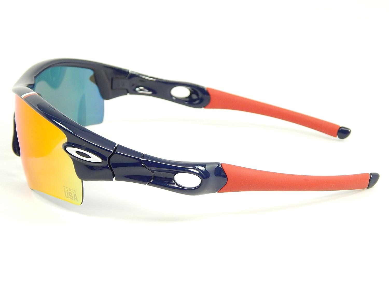 3ffb7b2463 Amazon.com  New Oakley Team USA Radar Path 24-302 Dark Blue Positive Red  Iridium Sunglasses  Clothing