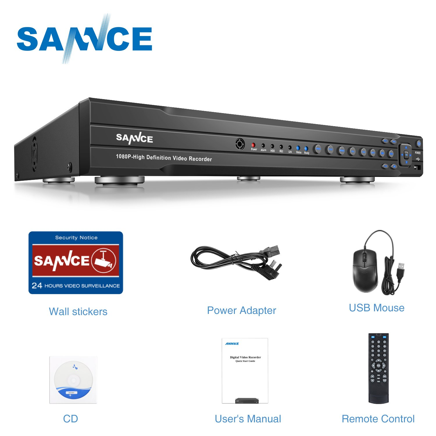 SANNCE 16 Channel 1080P(2MP) 5-in-1 AHDCCTV Network DVR Surveillance DVR Recorder without Hard Drive,Home Security System Alarm Email