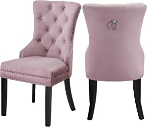"Meridian Furniture Nikki Collection Modern | Contemporary Velvet Upholstered Dining Chair with Wood Legs, Button Tufting, and Chrome Nailhead Trim, Set of 2, 23"" W x 23"" D x 40"" H, Pink"