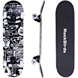 Skateboards, RockBirds 31'' Pro Complete Skateboard, 7 Layer Canadian Maple Skateboard Deck for Extreme Sports and Outdoors