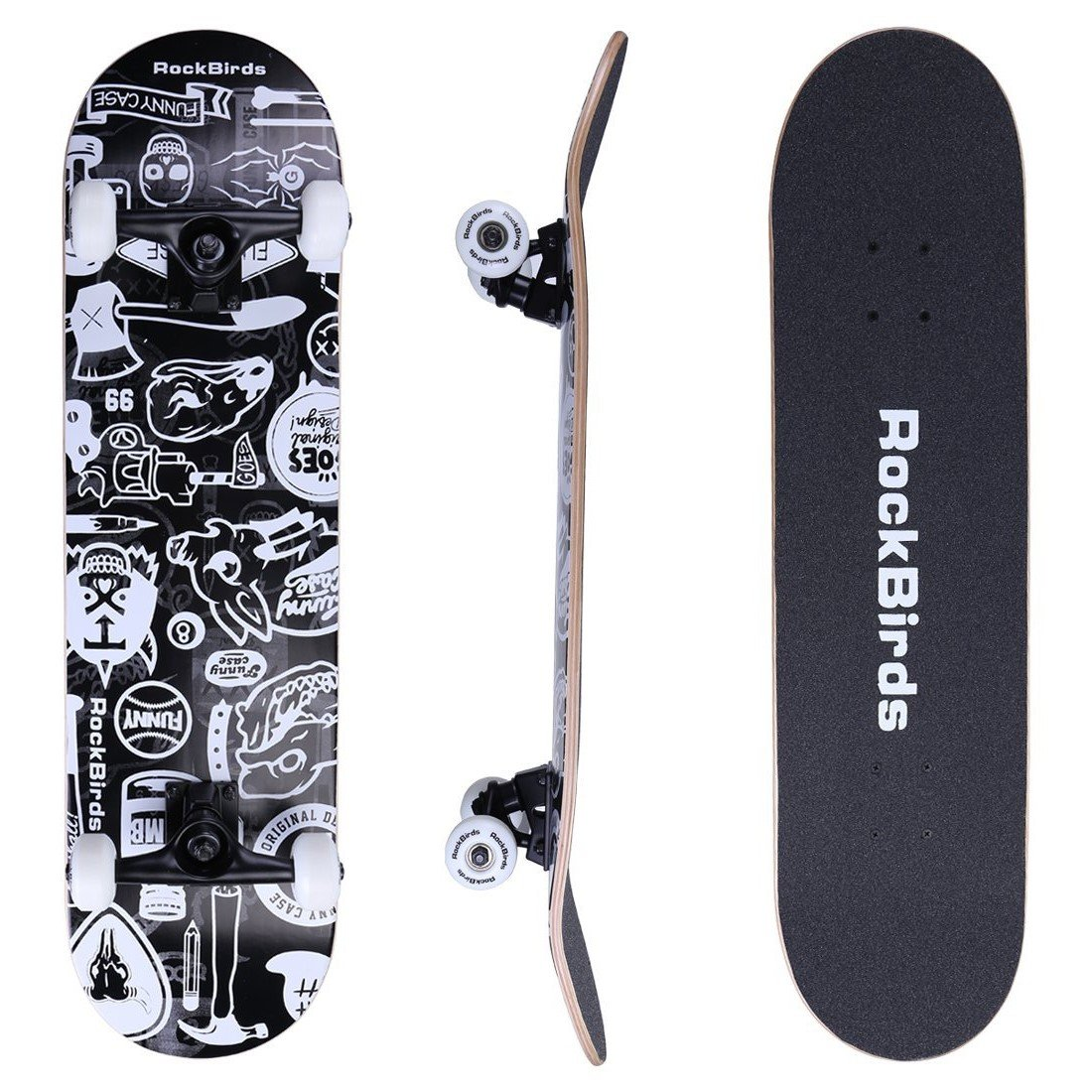 RockBirds Skateboards, 31'' Pro Complete Skateboard, 7 Layer Canadian Maple Skateboard Deck for Extreme Sports and Outdoors by RockBirds