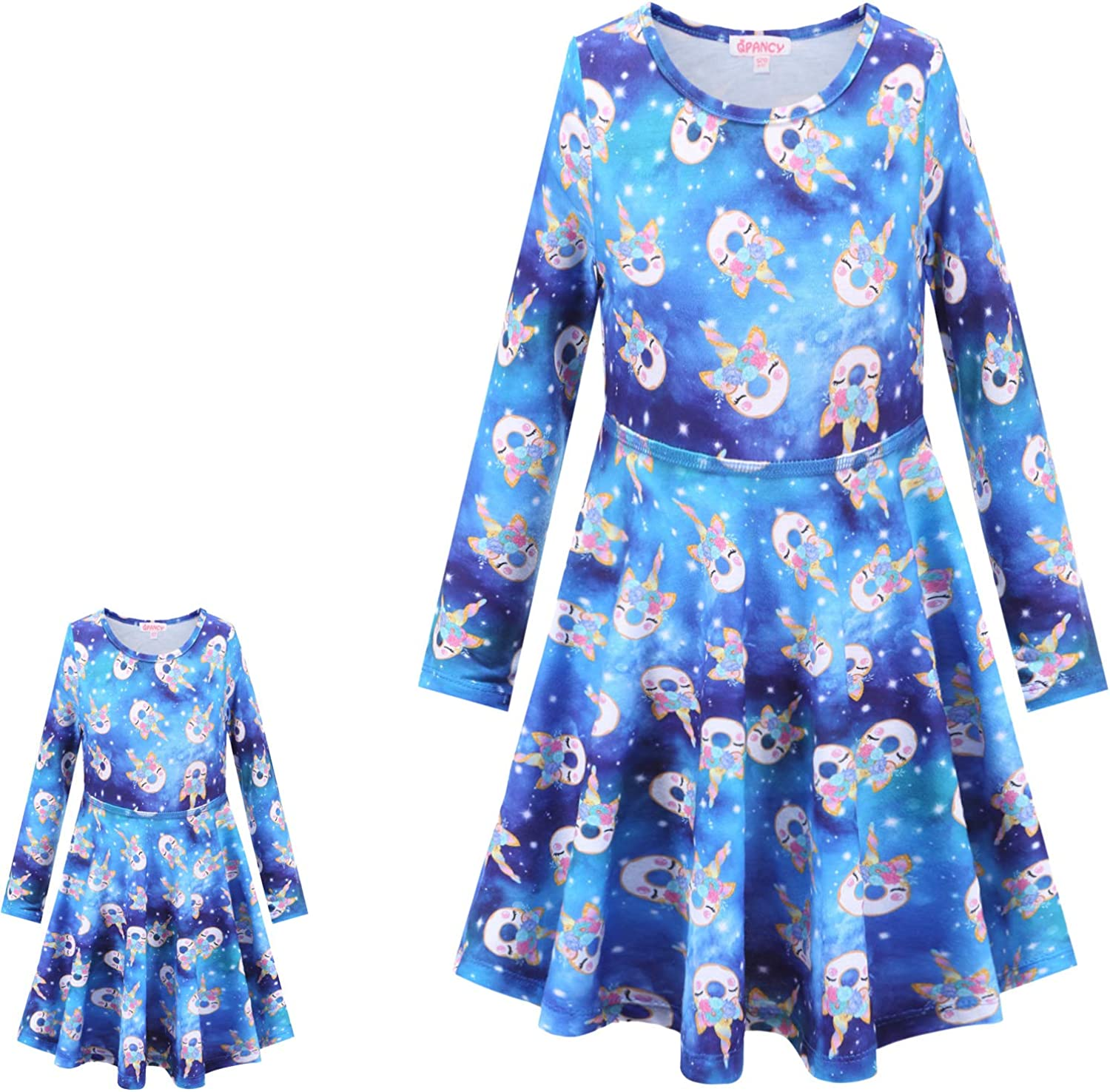 QPANCY Matching Doll/&Girls Dresses Long Sleeve Unicorn Outfits Cotton Clothes