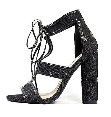 c60db5b5c CAPE ROBBIN Maura-2 Denim Lace Up Open Peep Toe Strappy Block Heel Denim  Sandal