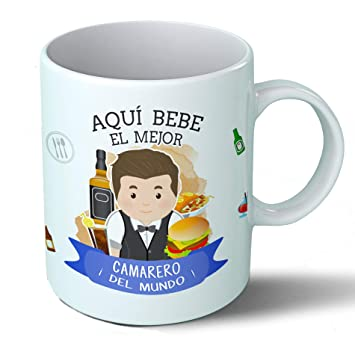 Planetacase Taza Desayuno Aquí Bebe el Mejor Camarero del Mundo Regalo Original Restaurante Bar Ceramica 330 ML: Amazon.es: Hogar