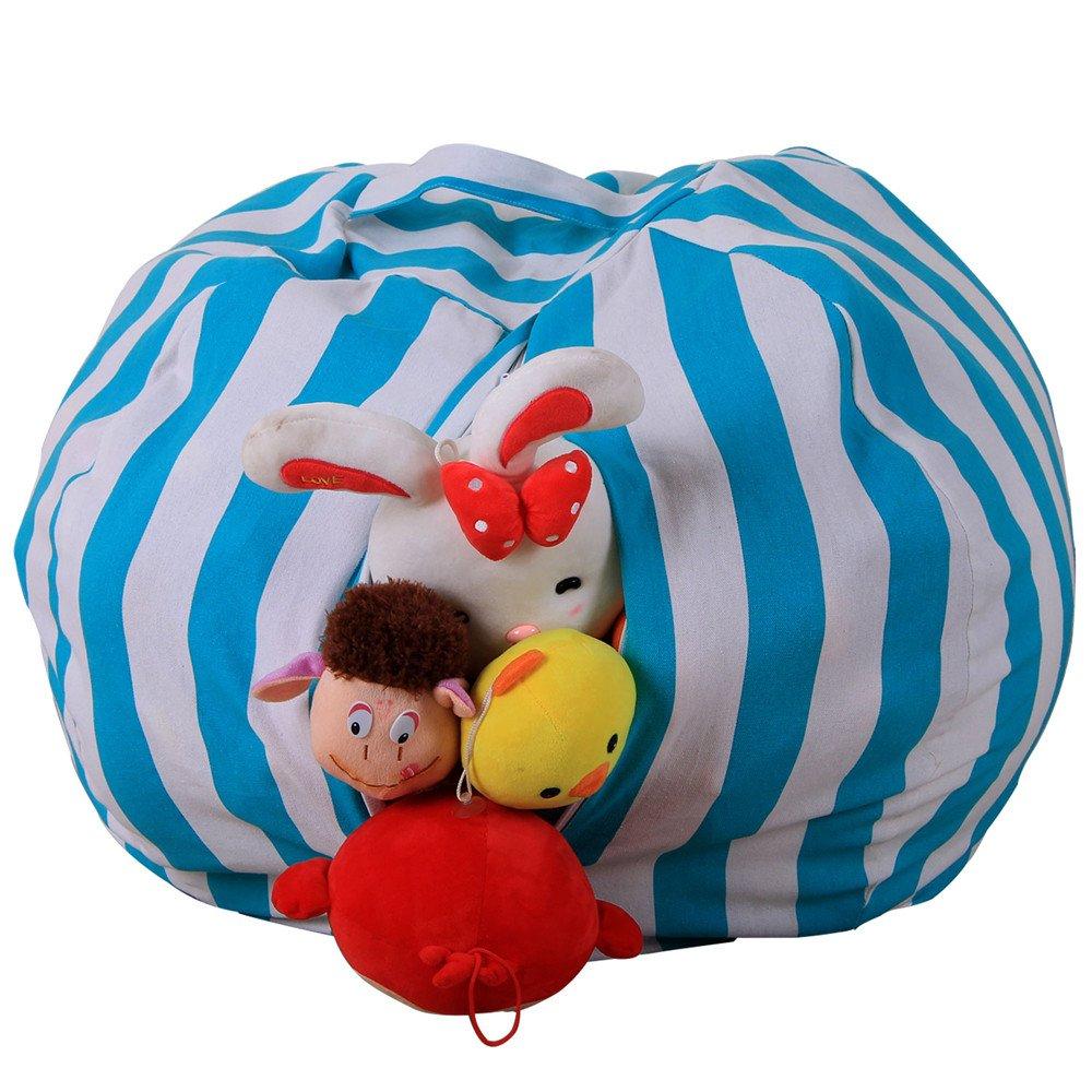 kingfansion Toy Storage Bag, Children's Large-Capacity Plush Animal Plush Toy Storage Bag Soft Bag Striped Cloth Chair by kingfansion (Image #1)