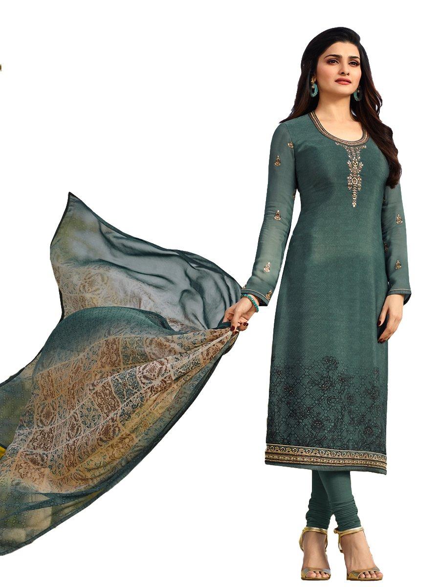 Royal Crepe Silk Embroidered Indian Pakistani Churidar Salwar Suit