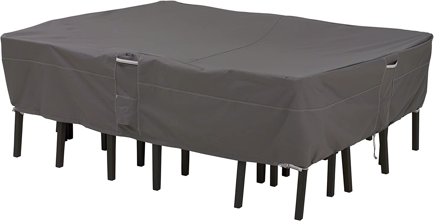 Classic Accessories Ravenna Water-Resistant 108 Inch Rectangular/Oval Patio Table & Chair Set Cover : Outdoor Table Cover Rectangle : Garden & Outdoor